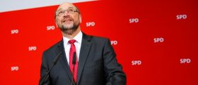 Social Democratic Party (SPD) leader Martin Schulz reacts on first exit polls after the Saarland state elections in Berlin, Germany, March 26, 2017. REUTERS/Hannibal Hanschke