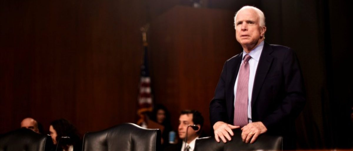 U.S. Senator John McCain (R-AZ) takes his seat before hearing testimony to the Senate Select Intelligence Committee on the nomination of former U.S. Senator Dan Coats (R-IN) to be Director of National Intelligence in Washington, U.S., February 28, 2017. REUTERS/James Lawler Duggan/File Photo
