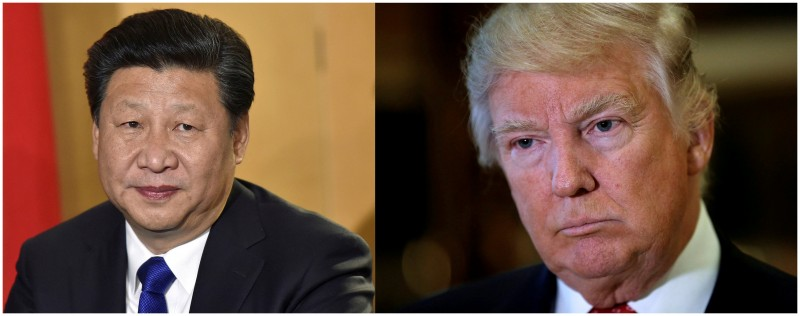 A combination of file photos showing Chinese President Xi Jinping (L) in London's Heathrow Airport, October 19, 2015 and (R) U.S. President Donald Trump listening to questions from reporters in New York, U.S., January 9, 2017. REUTERS/Toby Melville/Mike Segar/File Photos