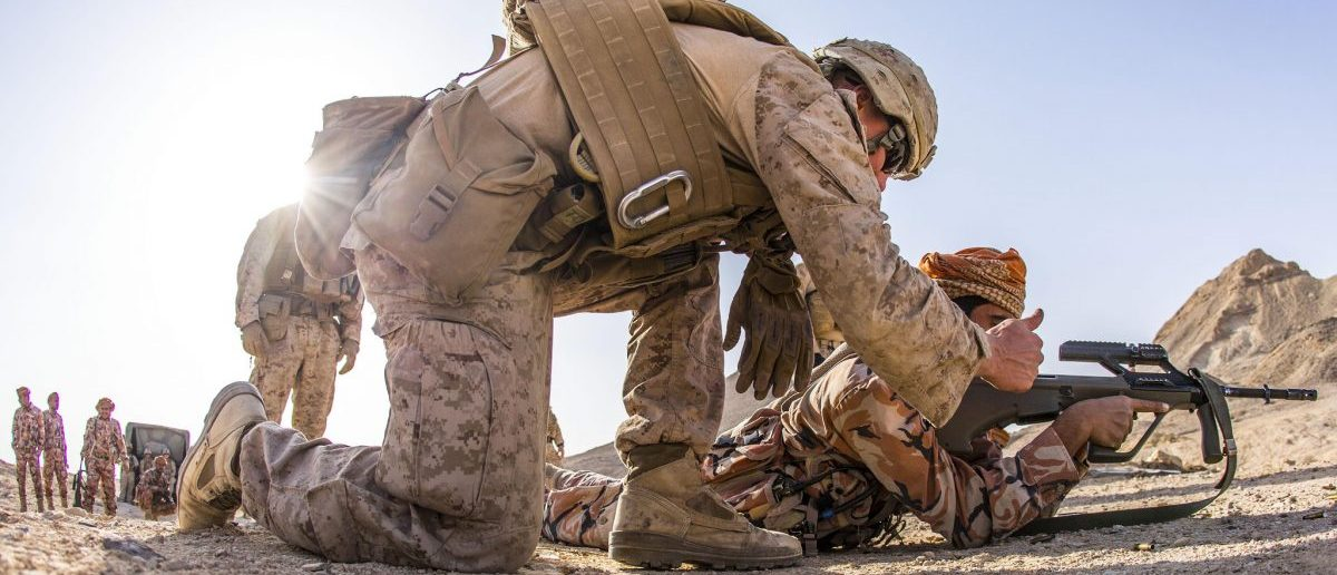 Cpl. Zachery Personett, an infantryman with 11th Marine Expeditionary Unit, gives a thumbs up to a Royal Army of Oman soldier after he cleared a weapons malfunction during a combat marksmanship range as part of Exercise Sea Soldier. During the range, the Marines trained the RAO soldiers in the Marine Corps marksmanship techniques of standing, kneeling and prone firing positions. Sea Soldier 2017 is an annual, bilateral exercise conducted with the Royal Army of Oman designed to demonstrate the cooperative skill and will of U.S. and partner nations to work together in maintaining regional stability and security.