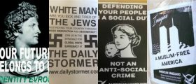collage of racist posters from the Anti-Defamation League