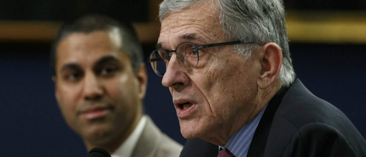 Federal Communications Commission (FCC) Chairman Tom Wheeler (R) and FCC Commissioner Ajit Pai testify at a House Appropriations Financial Services and General Government Subcommittee hearing on the FCC's FY2016 budget, on Capitol Hill in Washington March 24, 2015: Reuters/Kevin Lamarque