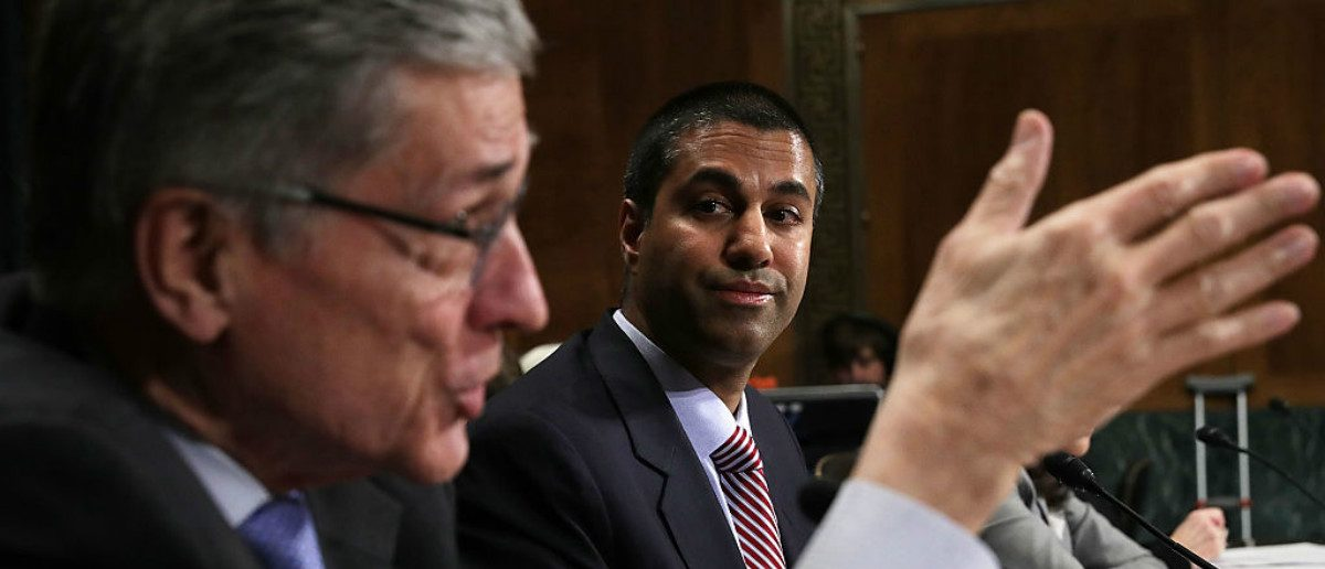 Former Federal Communications Commission (FCC) Chairman Thomas Wheeler (L) speaks as former FCC Commissioner and now Chairman Ajit Pai (R) looks on during a hearing before the Privacy, Technology and the Law Subcommittee of Senate Judiciary Committee May 11, 2016 on Capitol Hill in Washington, DC. The subcommittee held a hearing on 'Examining the Proposed FCC Privacy Rules.' (Photo by Alex Wong/Getty Images)