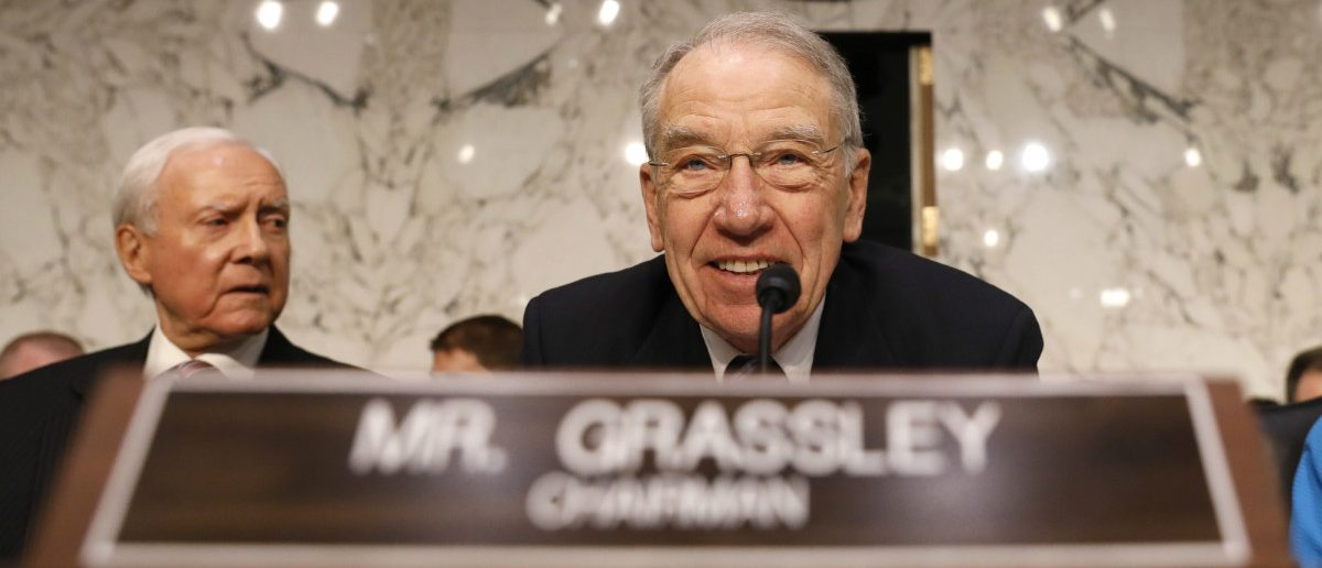 Committee Chairman Chuck Grassley chairs the Senate Judiciary Committee confirmation hearing for Supreme Court nominee judge Neil Gorsuch as Senator Orrin Hatch (L) listens on Capitol Hill in Washington, U.S., March 20, 2017. REUTERS/Jonathan Ernst