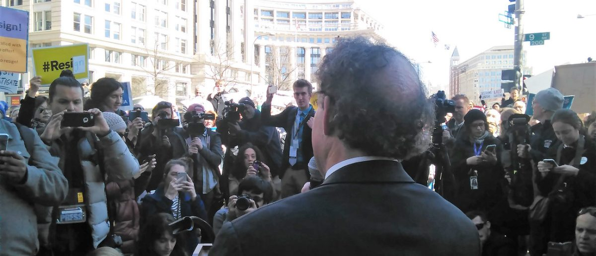 Democratic Rep. Jamie Raskin speaks to protesters outside the Dept. of Justice Thusday: Ted Goodman/TheDCNF