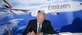 Sir Tim Clark, President of Emirates Airline, takes a note while speaking at a press conference at the National Press Club June 30, 2015 in Washington, DC. Clark addressed accusations by Delta Airlines, United Airlines and American Airlines that Emirates Airline is subsidized by the UAE government (Brendan Smialowski/AFP/Getty Images)