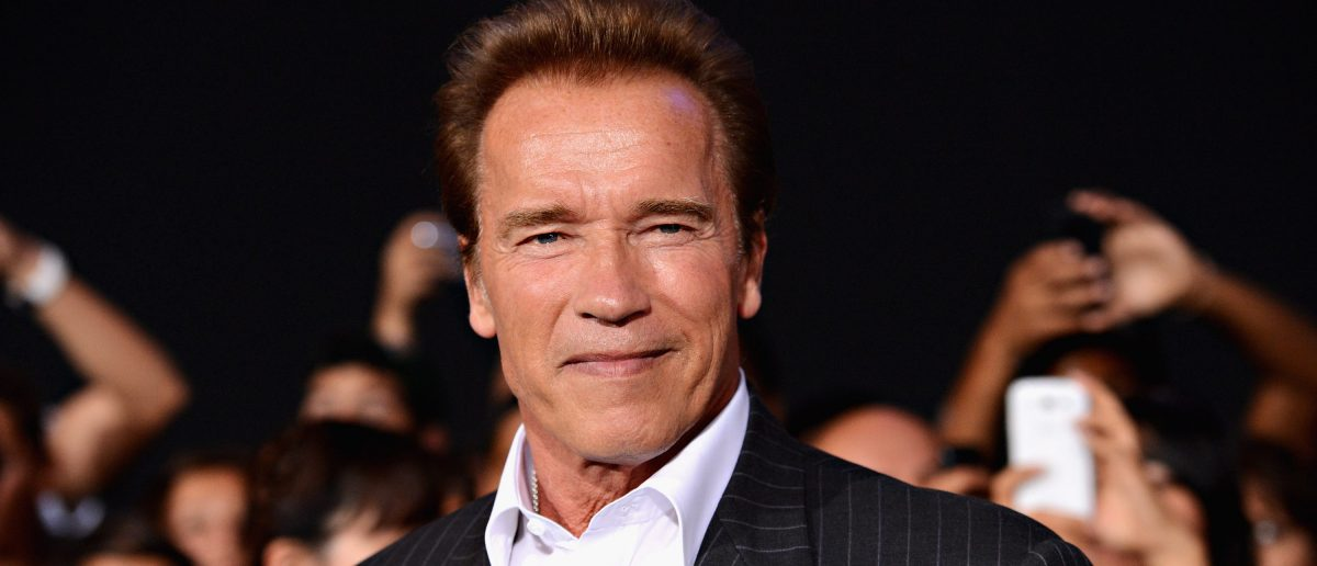 "Actor Arnold Schwarzenegger arrives at Lionsgate Films' ""The Expendables 2"" premiere on August 15, 2012 in Hollywood, California. (Photo by Jason Merritt/Getty Images)"