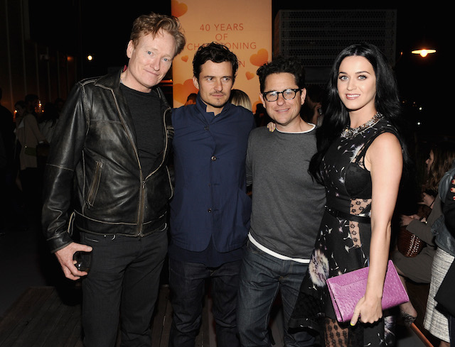 SANTA MONICA, CA - APRIL 10: (L-R) TV personality Conan O'Brien, actor Orlando Bloom, host J.J. Abrams and singer Katy Perry attend Coach's 3rd Annual Evening of Cocktails and Shopping to Benefit the Children's Defense Fund hosted by Katie McGrath, J.J. Abrams and Bryan Burk at Bad Robot on April 10, 2013 in Santa Monica, California. (Photo by Stefanie Keenan/Getty Images for Coach)