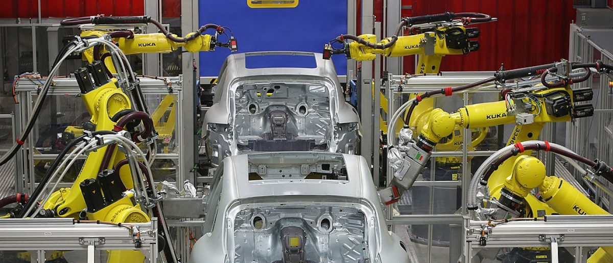 Robots weld the bodies of Porsche Macan SUVs at the new Porsche Macan factory at the Porsche plant on February 11, 2014. (Photo by Sean Gallup/Getty Images)