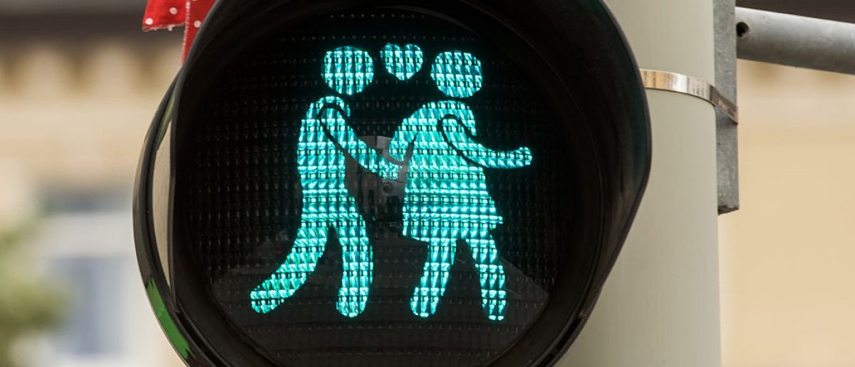 A pedestrian crossing signal showing a heterosexual couple at a junction on July 14, 2015 in Munich, Germany.  (Photo by Joerg Koch/Getty Images)