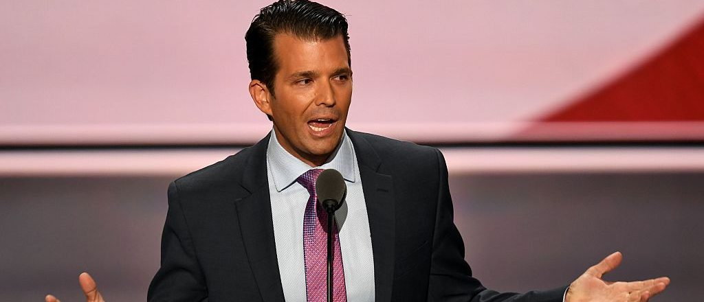 Donald Trump, Jr., son of Donald Trump, speaks on the second day of the Republican National Convention at the Quicken Loans Arena in Cleveland on July 19, 2016. (Photo credit: JIM WATSON/AFP/Getty Images)