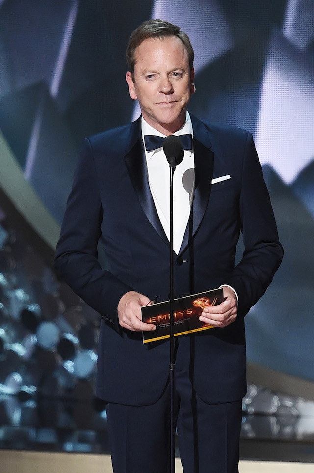 LOS ANGELES, CA - SEPTEMBER 18: Actor Kiefer Sutherland speaks onstage during the 68th Annual Primetime Emmy Awards at Microsoft Theater on September 18, 2016 in Los Angeles, California. (Photo by Kevin Winter/Getty Images)