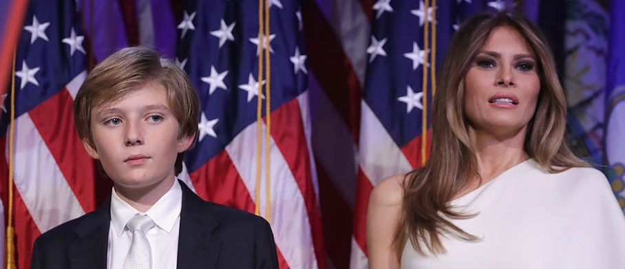 Barron Trump and his mother Melania Trump stand on stage after Republican president-elect Donald Trump delivered his acceptance speech at the New York Hilton Midtown in the early morning hours of November 9, 2016 in New York City. Donald Trump defeated Democratic presidential nominee Hillary Clinton to become the 45th president of the United States. (Photo by Chip Somodevilla/Getty Images)