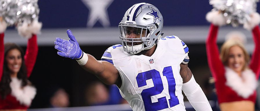 Ezekiel Elliott #21 of the Dallas Cowboys celebrates after rushing for a first down during the fourth quarter against the Tampa Bay Buccaneers at AT&T Stadium on December 18, 2016 in Arlington, Texas. (Photo by Tom Pennington/Getty Images)