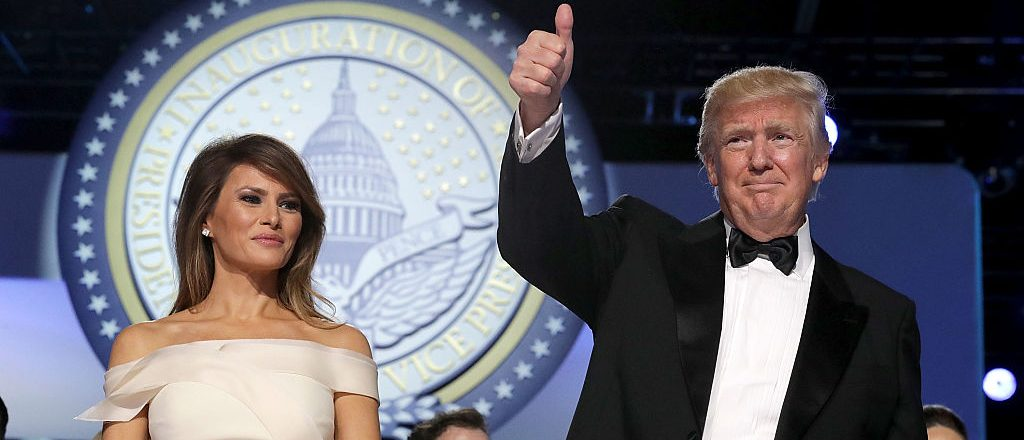 President Donald Trump and first lady Melania Trump thank guests during the inaugural Freedom Ball at the Washington Convention Center January 20, 2017 in Washington, D.C. (Photo by Chip Somodevilla/Getty Images)