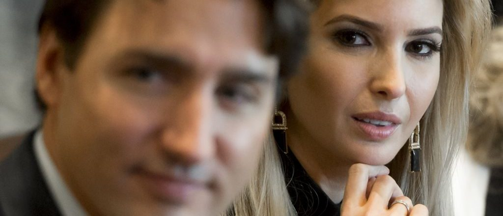 Canadian Prime Minister Justin Trudeau sits alongside Ivanka Trump, daughter of President Donald Trump, during a roundtable discussion on women entrepreneurs and business leaders in the Cabinet Room of the White House in Washington, D.C, February 13, 2017. (Photo credit: SAUL LOEB/AFP/Getty Images)