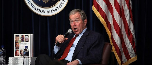 "SIMI VALLEY, CA - MARCH 01: Former U.S. President George W. Bush speaks during a discussion about his new book ""Portraits of Courage: A Commander in Chief's Tribute to America's Warriors"" at the Ronald Reagan Presidential Library on March 1, 2017 in Simi Valley, California. Former U.S. President George W. Bush spoke in conversation with Frederick J. Ryan, Jr., Chairman of the Board of Trustees for the Ronald Reagan Presidential Foundation and Institute, about his new book of paintings and stories by honoring the sacrifice and courage of America's military veterans. (Photo by Justin Sullivan/Getty Images)"