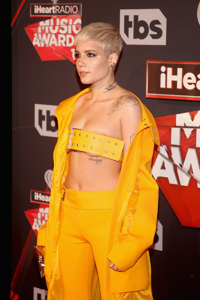 INGLEWOOD, CA - MARCH 05: Singer Halsey attends the 2017 iHeartRadio Music Awards which broadcast live on Turner's TBS, TNT, and truTV at The Forum on March 5, 2017 in Inglewood, California. (Photo by Jesse Grant/Getty Images for iHeartMedia)
