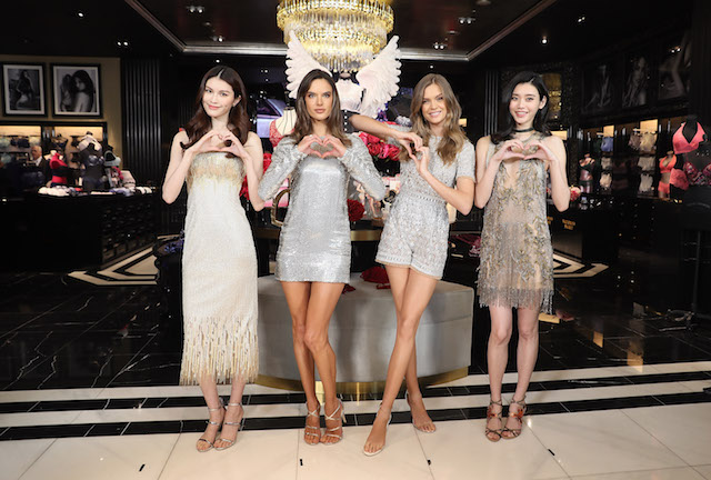 SHANGHAI, CHINA - MARCH 08: (L-R) Victoria's Secret Angels He Sui, Alessandra Ambrosio, Josephine Skriver and Xi Mengyao attend the Grand Opening Of Victoria's Secret Shanghai Flagship Store on March 8, 2017 in Shanghai, China. (Photo by Hu Chengwei/Getty Images)