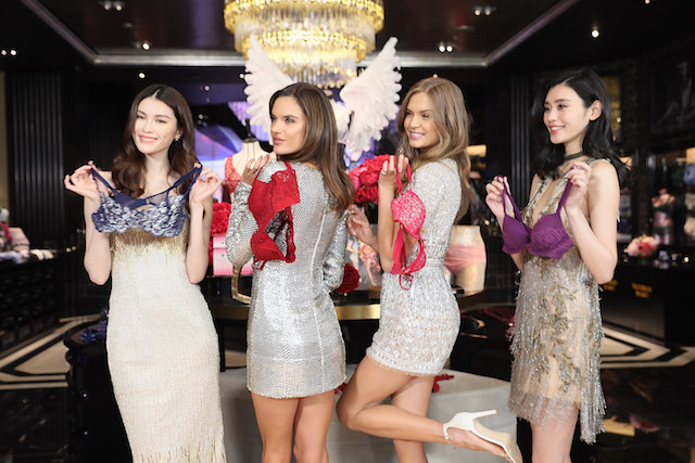 SHANGHAI, CHINA - MARCH 08: From left to right, Victoria's Secret Angels He Sui, Alessandra Ambrosio, Josephine Skrive, Xi Mengyao, attend the Grand Opening Of Victoria's Secret Shanghai Flagship Store on March 8, 2017 in Shanghai, China. (Photo by Hu Chengwei/Getty Images)