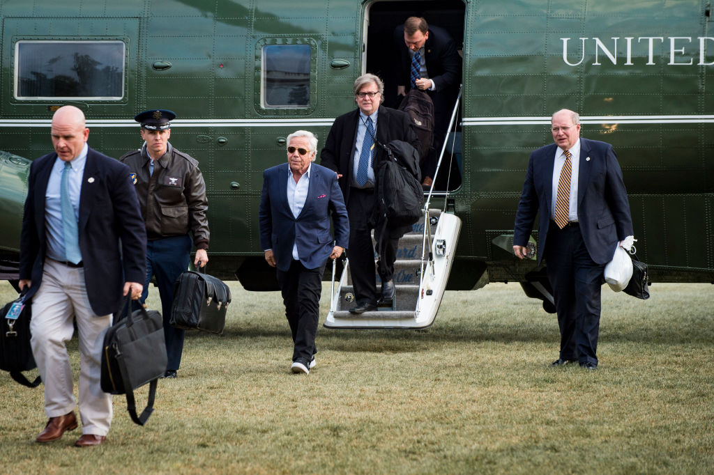 Robert Kraft, owner of the New England Patriots football team, walks to the White House after disembarking from Marine One on the South Lawn of the White House in Washington, District of Columbia, U.S., on Sunday, March 19, 2017. Kraft returned with President Trump from a weekend at his Mar-a-Lago resort in Palm Beach, Fla.