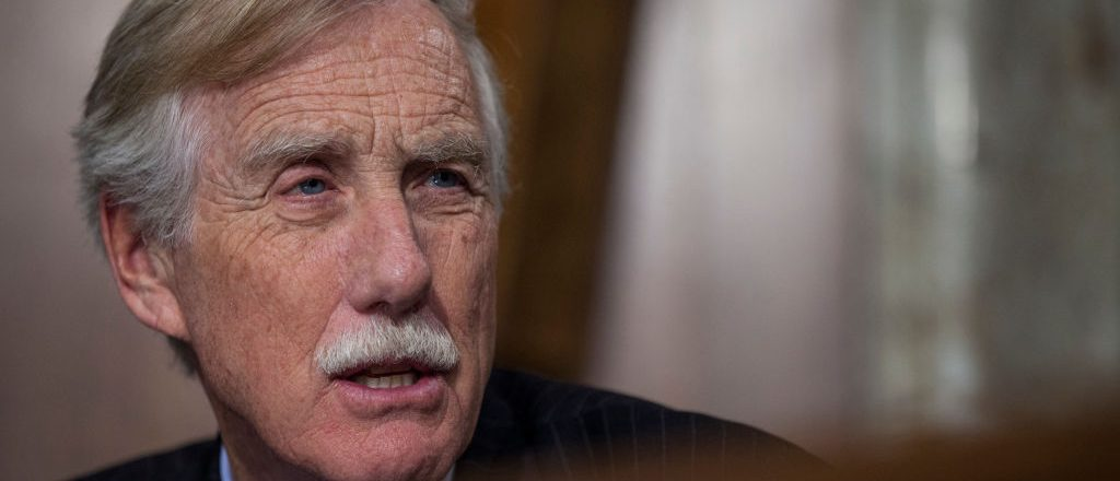 WASHINGTON, DC - MARCH 28: Sen. Angus King (I-ME) speaks during a Senate Energy Subcommittee hearing discussing cybersecurity threats to the U.S. electrical grid and technology advancements to maximize such threats on Capitol Hill on March 28, 2017 in Washington, D.C. (Photo by Zach Gibson/Getty Images)