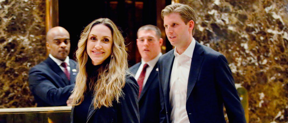 FILE -- Eric Trump, son of president-elect Donald Trump, and his wife Lara Yunaska, exit Trump Tower in New York, November 16, 2016. REUTERS/Eduardo Munoz