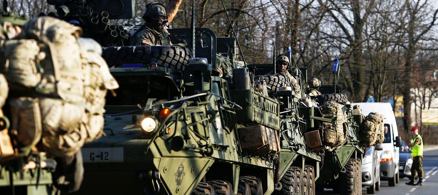 A convoy of U.S. troops, a part of NATO's reinforcement of its eastern flank, who are on their way from Germany to Orzysz in northeast Poland, drive through Sulejowek towards a military base in Wesola, near Warsaw, Poland, March 28, 2017. (PHOTO: REUTERS/Kacper Pempel)