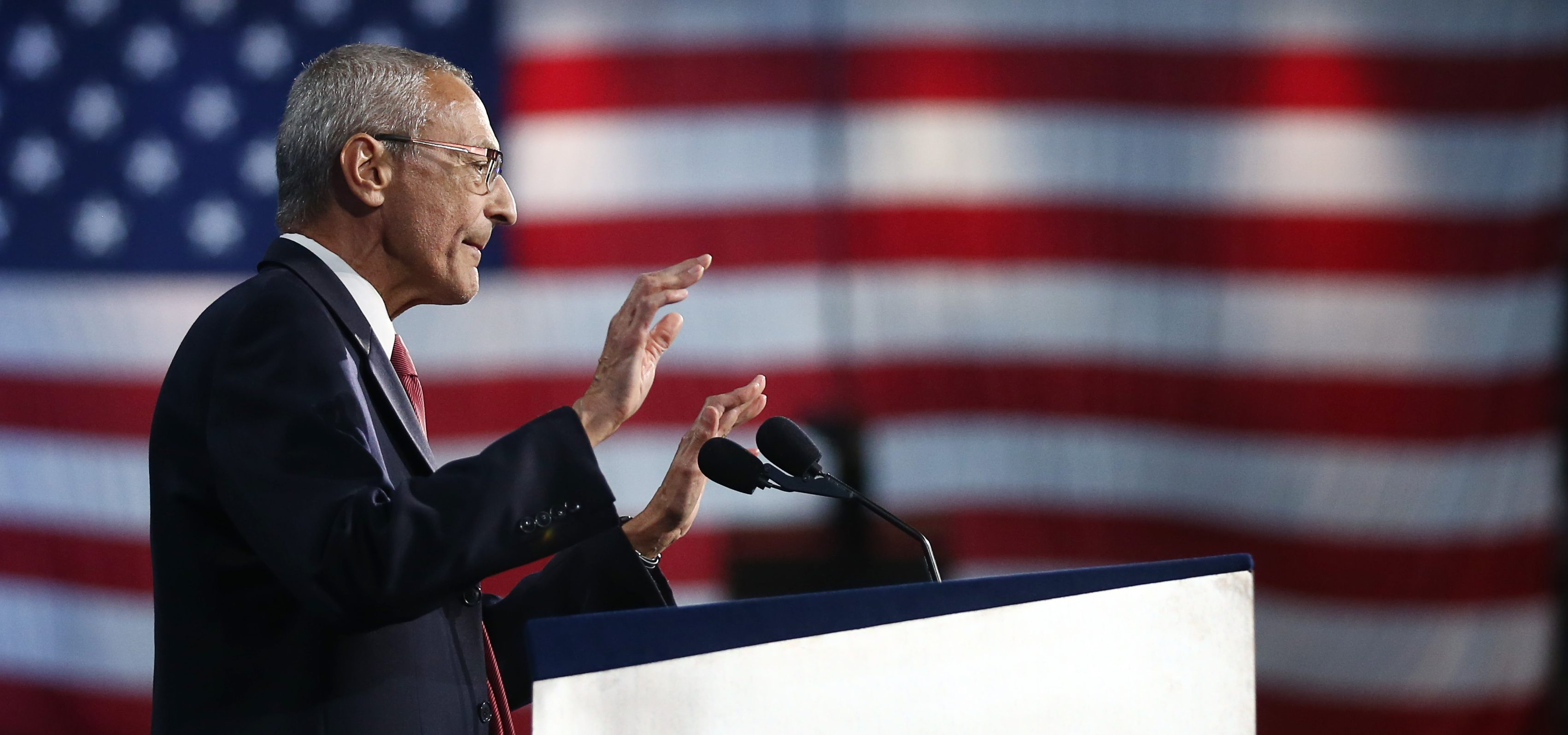 John Podesta, chairman of the 2016 Hillary Clinton presidential campaign, addresses the crowd at Hillary Clinton's election night rally in New York, November 9, 2016. REUTERS/Carlos Barria