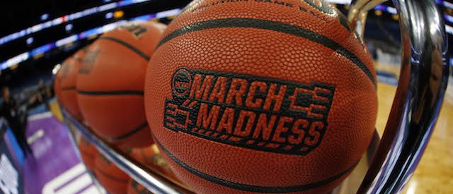 Mar 16, 2017; Orlando, FL, USA; General view of a March Madness basketball prior to the game between the Maryland Terrapins and the Xavier Musketeers in the first round of the NCAA Tournament at Amway Center. Mandatory Credit: Kim Klement-USA TODAY Sports - RTX31E48