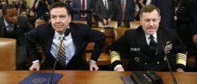 FBI Director James Comey (L) and National Security Agency Director Mike Rogers take their seats at a House Intelligence Committee hearing into alleged Russian meddling in the 2016 U.S. election, on Capitol Hill in Washington, U.S., March 20, 2017. [REUTERS/Joshua Roberts]