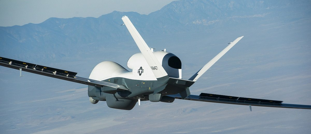The Triton unmanned aircraft system is shown completing its first flight from the Northrop Grumman manufacturing facility in Palmdale, California in this handout photo released by the U.S. Navy May 22, 2013 . The 80-minute flight successfully demonstrated control systems that allow Triton to operate autonomously. Triton is designed to fly surveillance missions up to 24-hours at altitudes of more than 10 miles, allowing coverage out to 2,000 nautical miles. U.S. Navy photo courtesy of Northrop Grumman/Bob Brown/Handout via Reuters