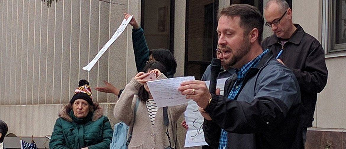 Frederick, Maryland resident Dan Cox speaks at a rally against Montgomery County sanctuary policy in front of the county council building on March 26, 2017. (Will Racke | Daily Caller News Foundation)