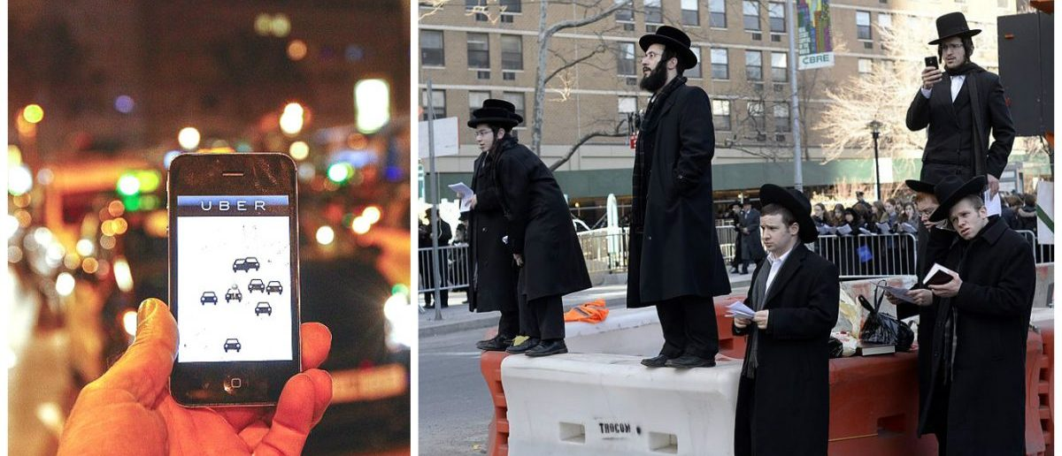 Left: The Uber app is seen on a smartphone past cabs passing on Paseo de Gracia in Barcelona, on December 9, 2014. [Photo credit: QUIQUE GARCIA/AFP/Getty Images] Right: Orthodox Jews gather on Water Street in lower Manhattan March 9, 2014 to pray and protest. [TIMOTHY A. CLARY/AFP/Getty Images]