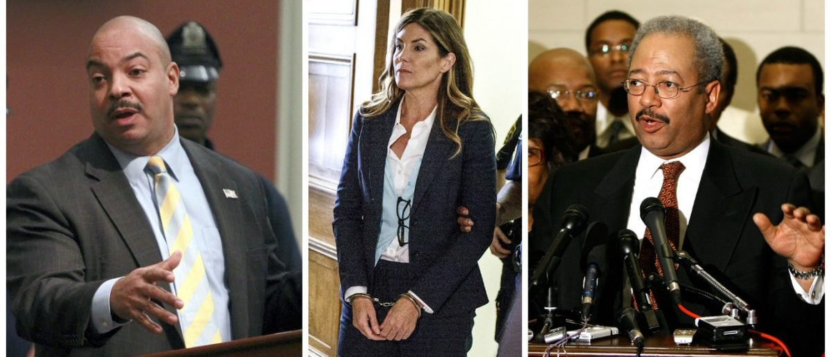LEFT: Philadelphia District Attorney R. Seth Williams makes remarks about the sentence of Philadelphia abortion doctor Kermit Gosnell during a news conference at the district attorneys office in Philadelphia, Pennsylvania, May 15, 2013. [REUTERS/Tim Shaffer] MIDDLE: Former Pennsylvania Attorney General Kathleen Kane leaves in handcuffs after her sentencing on felony perjury charges at the Montgomery County Courthouse in Norristown, Pennsylvania, U.S. October 24, 2016. [REUTERS/Dan Gleiter/Pool] RIGHT: Rep. Chaka Fattah (D-PA) conducts a news conference during the CBC's Economic Security Taskforce on TARP/TALF Access Summit in the Longworth House Office Building March 30, 2009 in Washington, DC. [Chip Somodevilla/Getty Images]