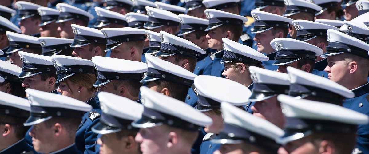 Cadets listen as US President Barack Obama speaks during a graduation ceremony at the US Air Force Academy's Falcon Stadium June 2, 2016 in Colorado Springs, Colorado. Brendan Smialowski/AFP/Getty Images.