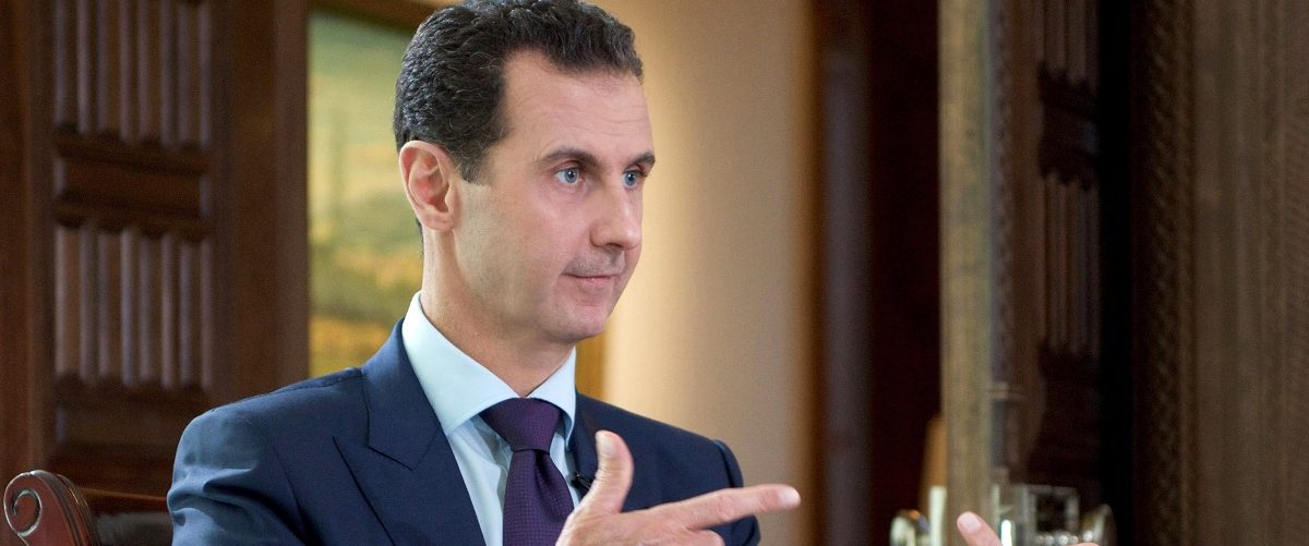 A handout picture released by the official Syrian Arab News Agency (SANA) on October 6, 2016 shows Syrian President Bashar al-Assad speaking during an interview with Denmark's TV2 channel. Sana/AFP/Getty Images.