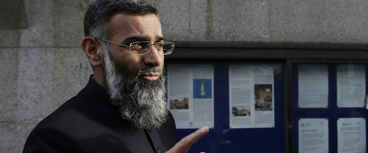 British muslim cleric Anjem Choudary arrives at the Old Bailey in London for the start of his trial on January 11, 2016. Choudary and Mohammed Rahman are charged with inviting support for Islamic State (IS). Adrian Dennis/AFP/Getty Images.