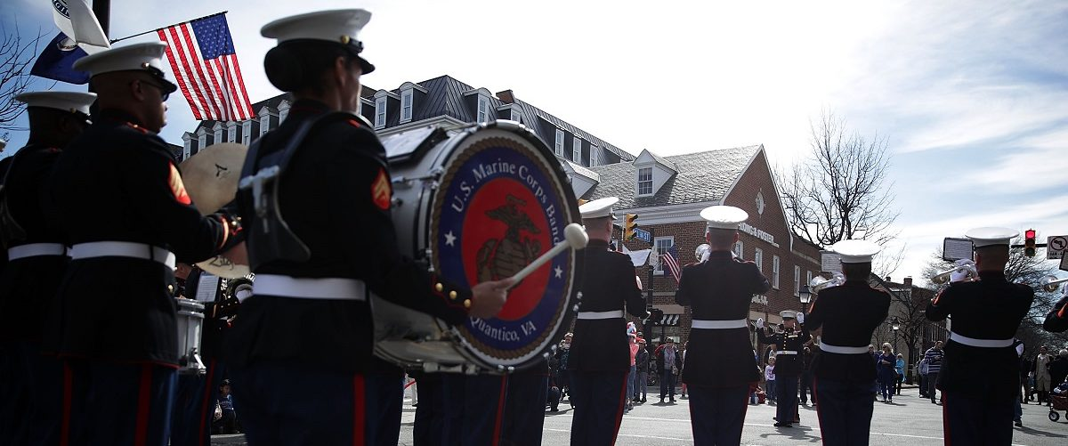 Members of the U.S. Marine Corps Band participate in the annual George Washington Birthday Parade February 20, 2017 in Old Town Alexandria, Virginia. The nation celebrates President's Day to mark the birthday of George Washington and Abraham Lincoln, and honor all the Presidents who have served in the U.S. history. Alex Wong/Getty Images.