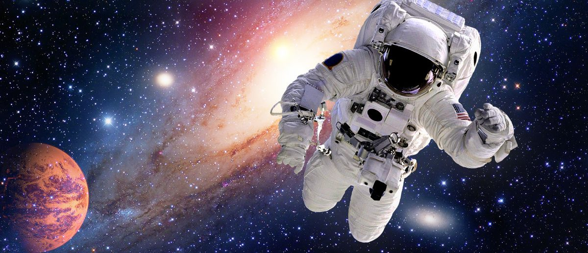 Astronaut spaceman outer space solar system people planet universe. Elements of this image furnished by NASA. (Shutterstock/NikoNomad)