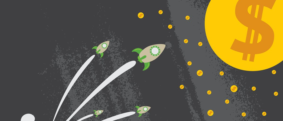 Group of Rockets go up to the moon and stars of dollar sign with business startup concept. (Shutterstock/Vectortone)
