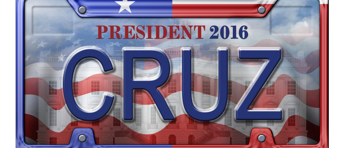 A license plate advertising 2016 GOP primary presidential candidate Ted Cruz (Photo: Shutterstock/ Jim Larkin)