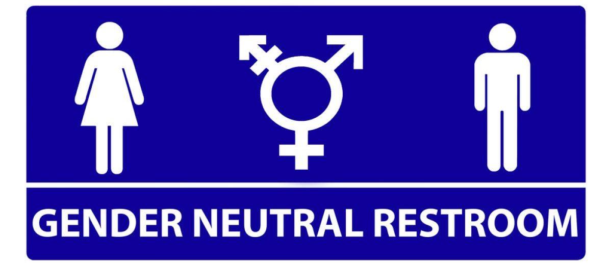 Gender neutral bathroom sign design. [Shutterstock - Barry Blackburn]