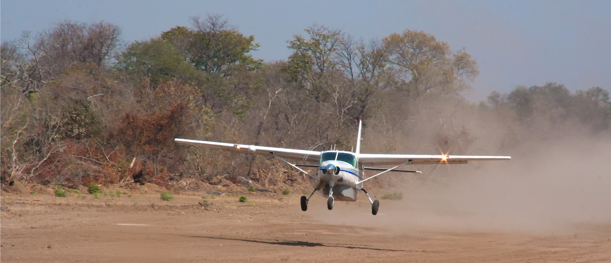 A plane touches down o a landing strip in Africa (Photo: Shutterstock/ecoventurestravel)