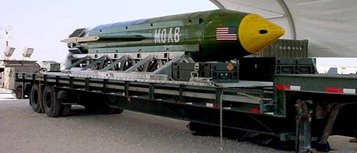 """he GBU-43/B Massive Ordnance Air Blast bomb sits in theater of the Global War on Terror awaiting to be used should it become necessary. The MOAB is also called """"The Mother of all Bombs"""" by scientists and the community alike. (Photo: U.S. Air Force/Courtesy photo)"""
