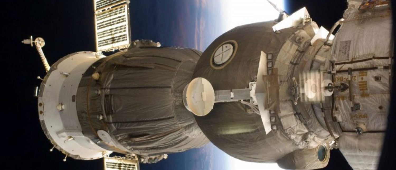FILE PHOTO - One of two Soyuz spacecrafts docked with the International Space Station is featured in this image photographed by a crew member aboard the station