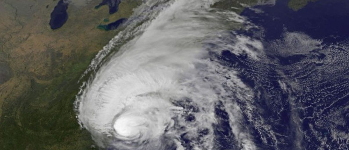 FILE PHOTO - Hurricane Matthew is pictured along the southeastern U.S. coast by NASA's NOAA's GOES-East satellite