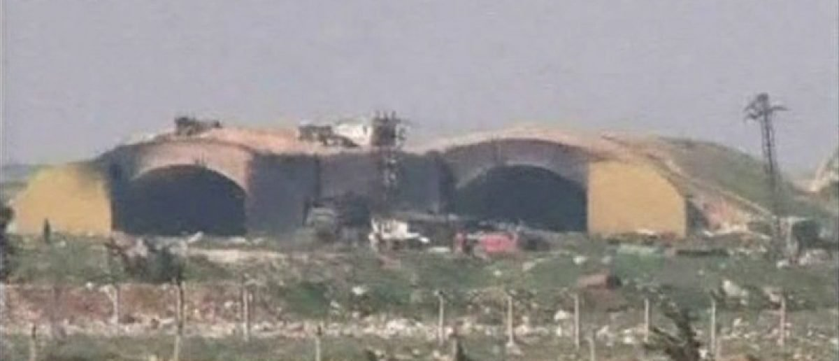 Damage to the Syrian army airbase broadcast on Syrian state television.    SYRIAN TV via Reuters TV