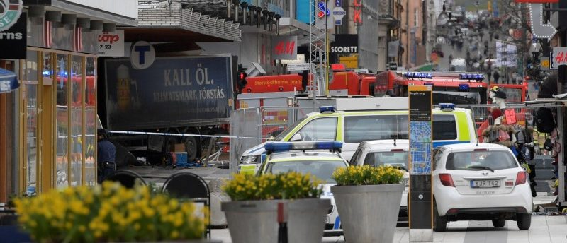 People were killed when a truck crashed into department store Ahlens on Drottninggatan, in central Stockholm, Sweden April 7, 2017. TT News Agency/Anders Wiklund/via REUTERS
