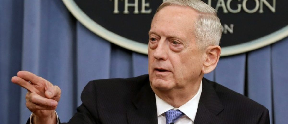 U.S. Defense Secretary James Mattis gestures to the media at the Pentagon in Washington, U.S., April 11, 2017. REUTERS/Yuri Gripas